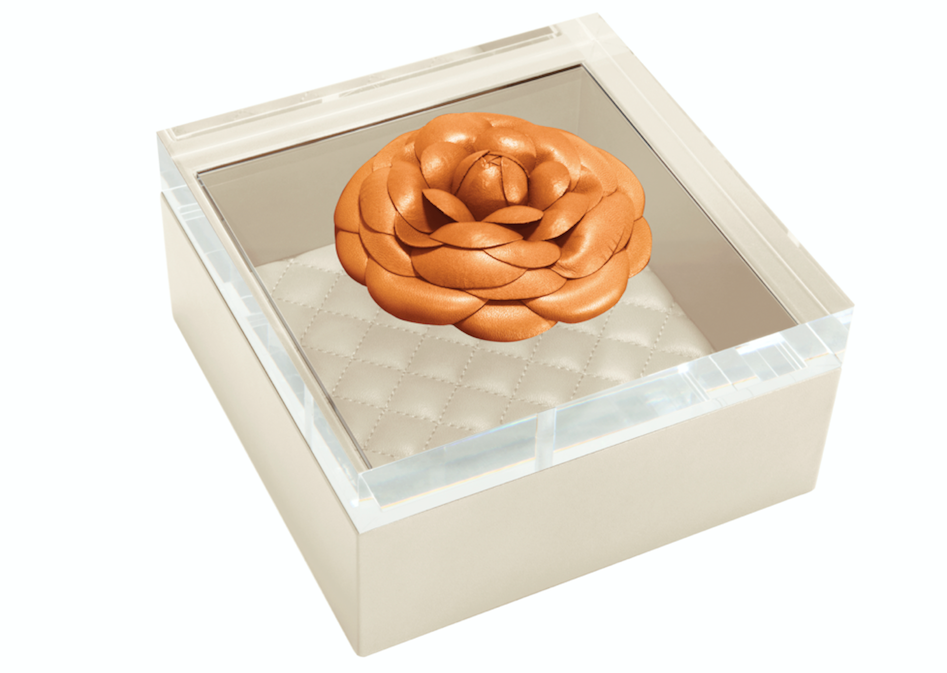 RIVIERE I LEATHER BOX WITH ACRYLIC LID I ORANGE & IVORY