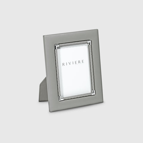 RIVIERE I LEATHER PICTURE FRAME WITH INNER BRAID I GREY I 13X18