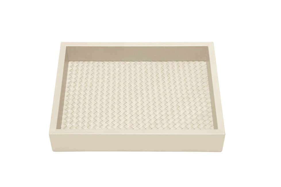 RIVIERE I IVORY LEATHER TRAY I RECTANGLE