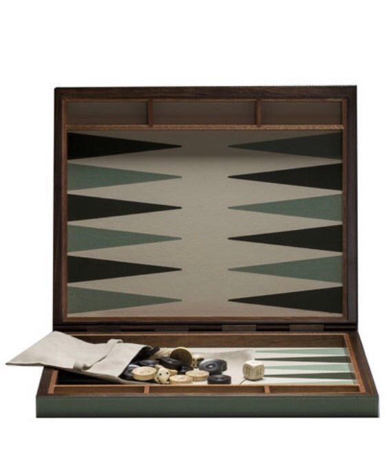 GIOBAGNARA I BACKGAMMON CASE I LARGE IN SMOKE & WHITE STICHING