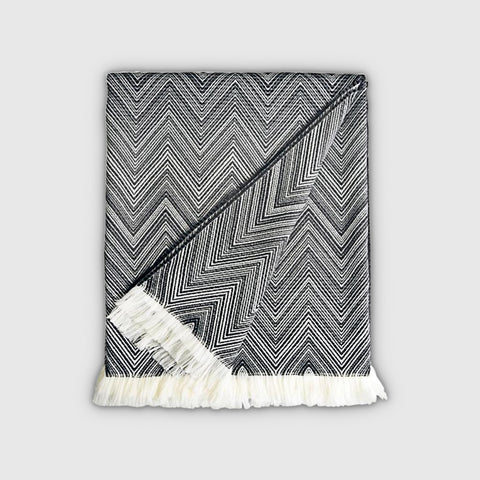 MISSONI TIMMY THROW - BLACK AND WHITE CHEVRON