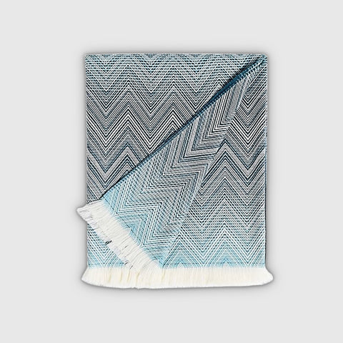 MISSONI TIMMY THROW - TURQUOISE , BLUE , CREAM CHEVRON