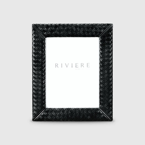 RIVIERE I HANDWOVEN LEATHER PICTURE FRAME I BLACK I 18X24