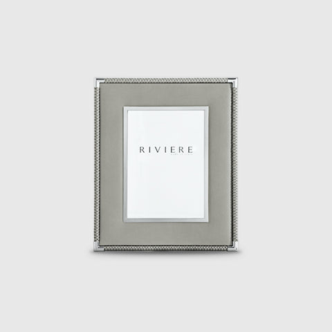 RIVIERE I  LEATHER PICTURE FRAME WITH INNER CHROME/OUTER BRAID I GREY