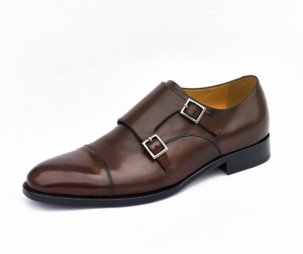 hand-made leather buji monk shoe