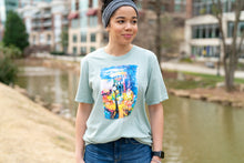 "Load image into Gallery viewer, ""Main Street at Night"" T-Shirt (Heather Dusty Blue)"
