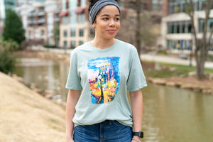 """Main Street at Night"" T-Shirt (Heather Dusty Blue)"