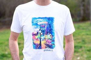 """Main Street at Night"" T-Shirt (White)"