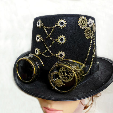 Top Handmade Steampunk Top Hat w/Gears & Goggles @BR29