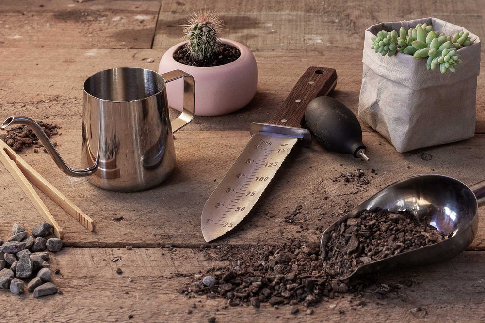 Hori hori tool watering can and scoop for succulent planting