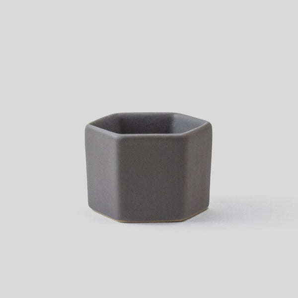 Mini geometric grey ceramic plant pot perfect for small succulents and cacti