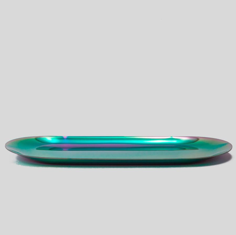 rainbow oblong metal tray
