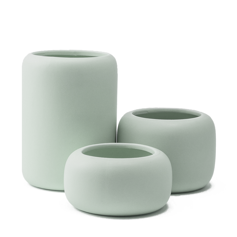 Beautiful ceramic plant pot for indoor succulents and houseplants in a matt finish. Mint Green colour set of 3 plant pots