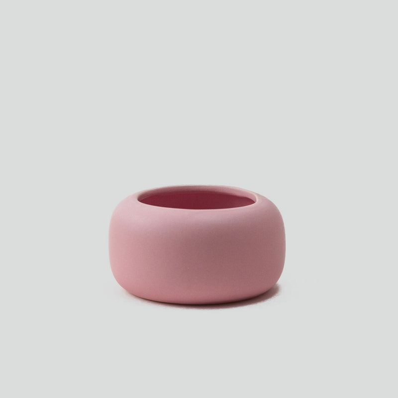 small ceramic blush pink plant pot with matt finish, perfect for cactus or succulent with drainage hole