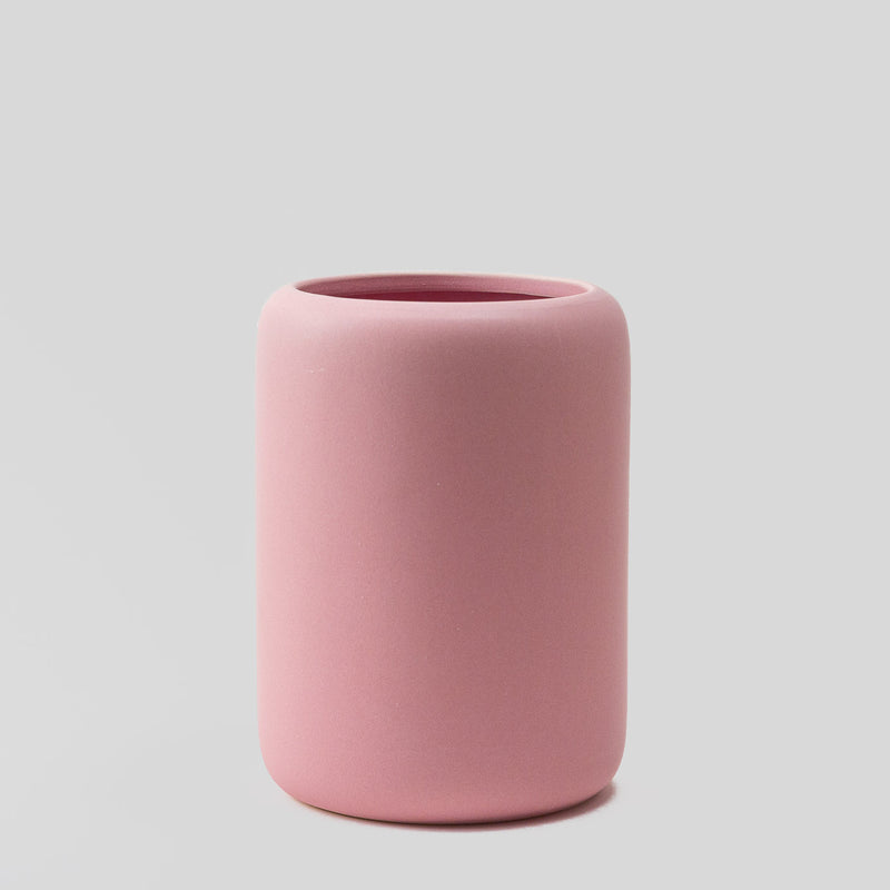large ceramic blush pink plant pot with matt finish, perfect for cactus or succulent arrangement with drainage hole