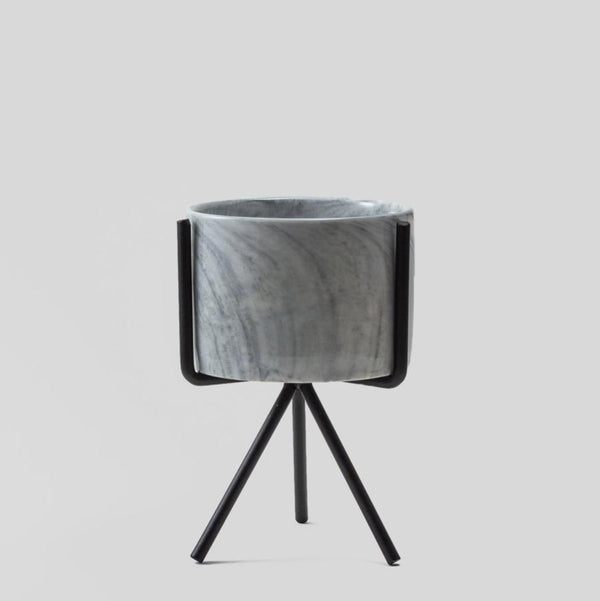 marble pattern ceramic pot with metal stand
