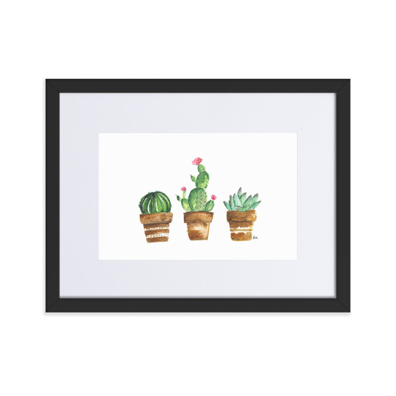 Succulent Watercolour Framed Print