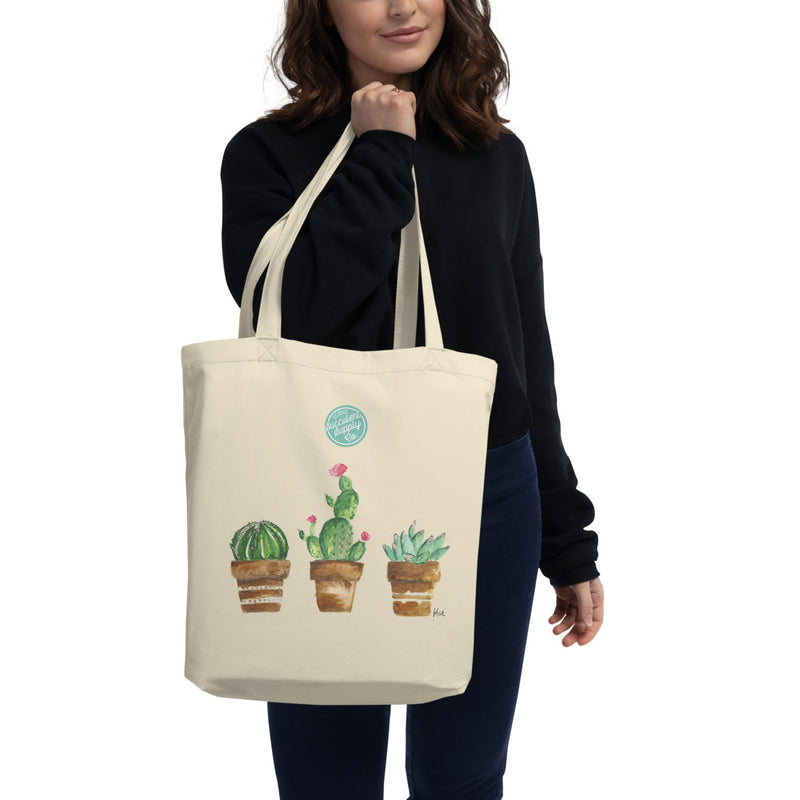 watercolour succulent eco tote bag