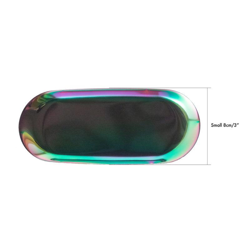small oval display tray rainbow metal