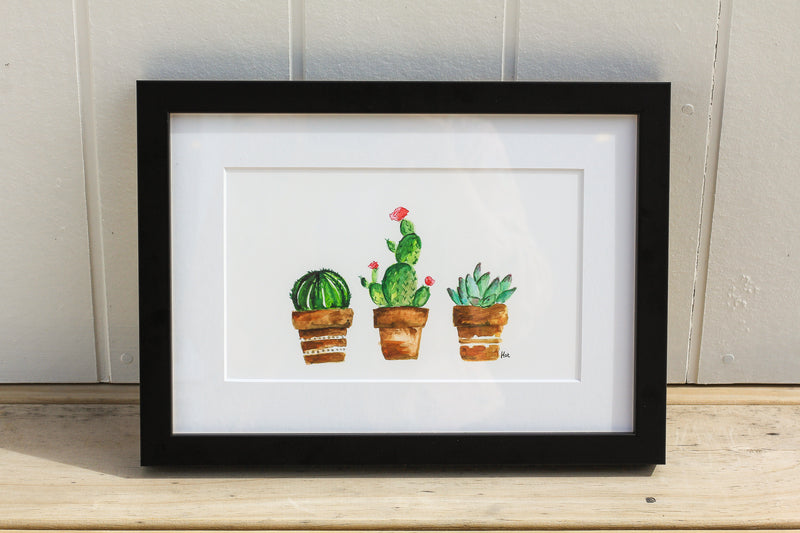 Watercolour Succulent framed print