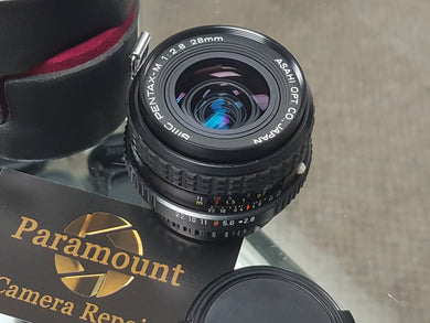 Pentax M SMC 28mm F2.8 Wide Angle, Manual film lens, Fully Restored - Paramount Camera & Repair - Saskatoon Canada Used Cameras Used Lenses Batteries Grips Chargers Studio