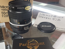 Load image into Gallery viewer, Nikon Nikkor 55mm f2.8 AIS Manual Lens for Nikon Film Camera, MINT - Paramount Camera & Repair - Saskatoon Canada Used Cameras Used Lenses Batteries Grips Chargers Studio