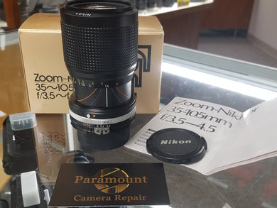 Nikon Nikkor 35-105mm f3.5-4.5 AIS Manual Lens for Nikon Film Camera, MINT - Paramount Camera & Repair - Saskatoon Canada Used Cameras Used Lenses Batteries Grips Chargers Studio