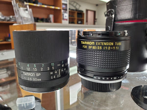 Tamron SP 90mm F2.5 Macro Lens for Pentax K mount w/ Tamron 1:1 Adapter