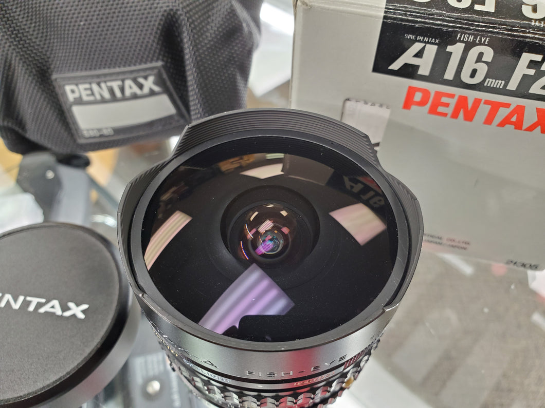 Extremely Rare-Mint Pentax SMC Pentax A 16mm f2.8 Wide Angle Fish-Eye Lens - Paramount Camera & Repair - Saskatoon Canada Used Cameras Used Lenses Batteries Grips Chargers Studio