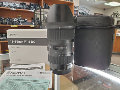 Sigma ART 18-35mm 1.8 DC HSM, Like New condition, Canon Mount - Paramount Camera & Repair - Saskatoon Canada Used Cameras Used Lenses Batteries Grips Chargers Studio