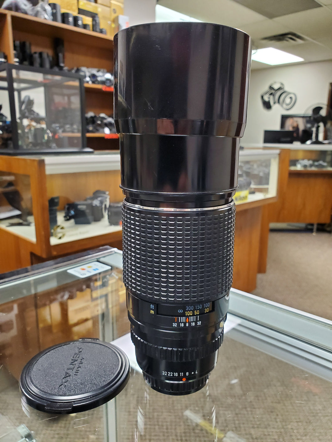 Pentax SMC 300mm F4 Lens and Hood For Pentax K Mount, Rare - Paramount Camera & Repair - Saskatoon Canada Used Cameras Used Lenses Batteries Grips Chargers Studio