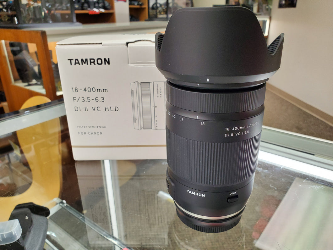 Tamron 18-400mm f/3.5-6.3 Di II VC HLD Lens for Canon - Like New Condition - Paramount Camera & Repair - Saskatoon Canada Used Cameras Used Lenses Batteries Grips Chargers Studio