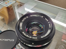 Load image into Gallery viewer, Olympus 50mm 1.8 , Manual film lens, Excellent Condition, cleaned - Paramount Camera & Repair - Saskatoon Canada Used Cameras Used Lenses Batteries Grips Chargers Studio