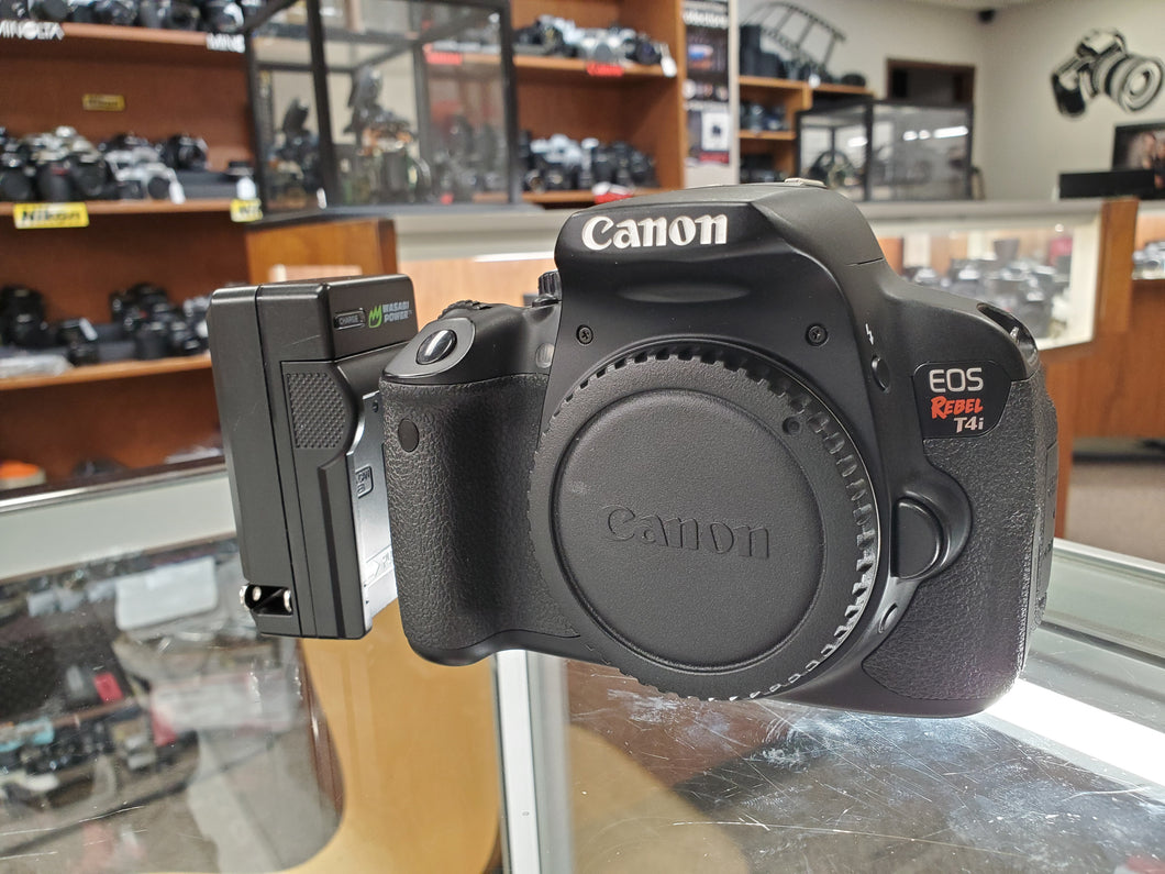 Canon Rebel T4i - 18MP 1080p DSLR w/ Touchscreen, Battery & Charger, Condition 9.8/10 - Paramount Camera & Repair - Saskatoon Canada Used Cameras Used Lenses Batteries Grips Chargers Studio