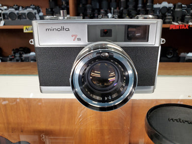 Minolta 7s, 35mm Rangefinder Film Camera w/ Rokker 45mm 1.8 Lens, Professional CLA, RCMP Collectable