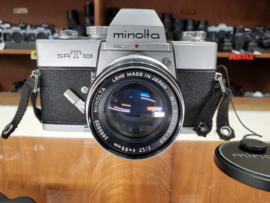Minolta SRT101 CLC, 35mm SLR Film Camera w/ Rokkor 55mm F1.7 Lens, Professional CLA, Canada