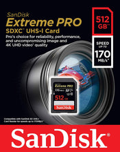 Load image into Gallery viewer, SanDisk 512GB Extreme Pro SDXC SD Card Memory - Read:170mp/s-Write:90mb/s - Paramount Camera & Repair