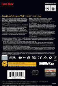 SanDisk 512GB Extreme Pro SDXC SD Card Memory - Read:170mp/s-Write:90mb/s - Paramount Camera & Repair