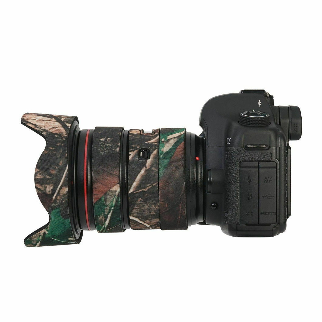 Camo Protective Lens Cover for Canon 24-70mm f/2.8L II - Rubberized Neoprene - Mossy Oak - Paramount Camera & Repair - Saskatoon Canada Used Cameras Used Lenses Batteries Grips Chargers Studio