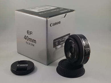 Canon EF 40mm f/2.8 STM lens - Used Condition 9.5/10 - Paramount Camera & Repair - Saskatoon Canada Used Cameras Used Lenses Batteries Grips Chargers Studio