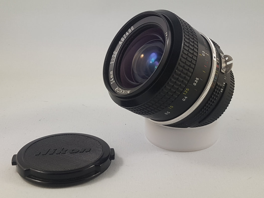 Nikkor 24mm f/2.8 AI-S Nikon Manual Film Lens - Used Condition 9.5/10 - Paramount Camera & Repair - Saskatoon Canada Used Cameras Used Lenses Batteries Grips Chargers Studio