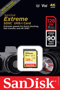 SanDisk Extreme 128GB SDXC UHS-I SD Card Memory Read:150mb/s-Write:90mb/s - Paramount Camera & Repair - Saskatoon Canada Used Cameras Used Lenses Batteries Grips Chargers Studio
