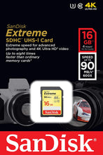 Load image into Gallery viewer, SanDisk Extreme 16GB SDXC UHS-I SD Card Memory Read:90mb/s-Write:40mb/s - Paramount Camera & Repair - Saskatoon Canada Used Cameras Used Lenses Batteries Grips Chargers Studio