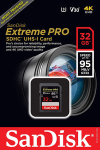 SanDisk Extreme Pro 32GB SDHC UHS-I SD Card Memory - Read:95mb/s-Write:90mb/s - Paramount Camera & Repair - Saskatoon Canada Used Cameras Used Lenses Batteries Grips Chargers Studio