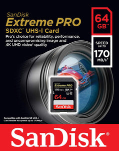 SanDisk 64GB Extreme PRO SDXC SD Card Memory - Read:170mp/s-Write:90mb/s - Paramount Camera & Repair - Saskatoon Canada Used Cameras Used Lenses Batteries Grips Chargers Studio