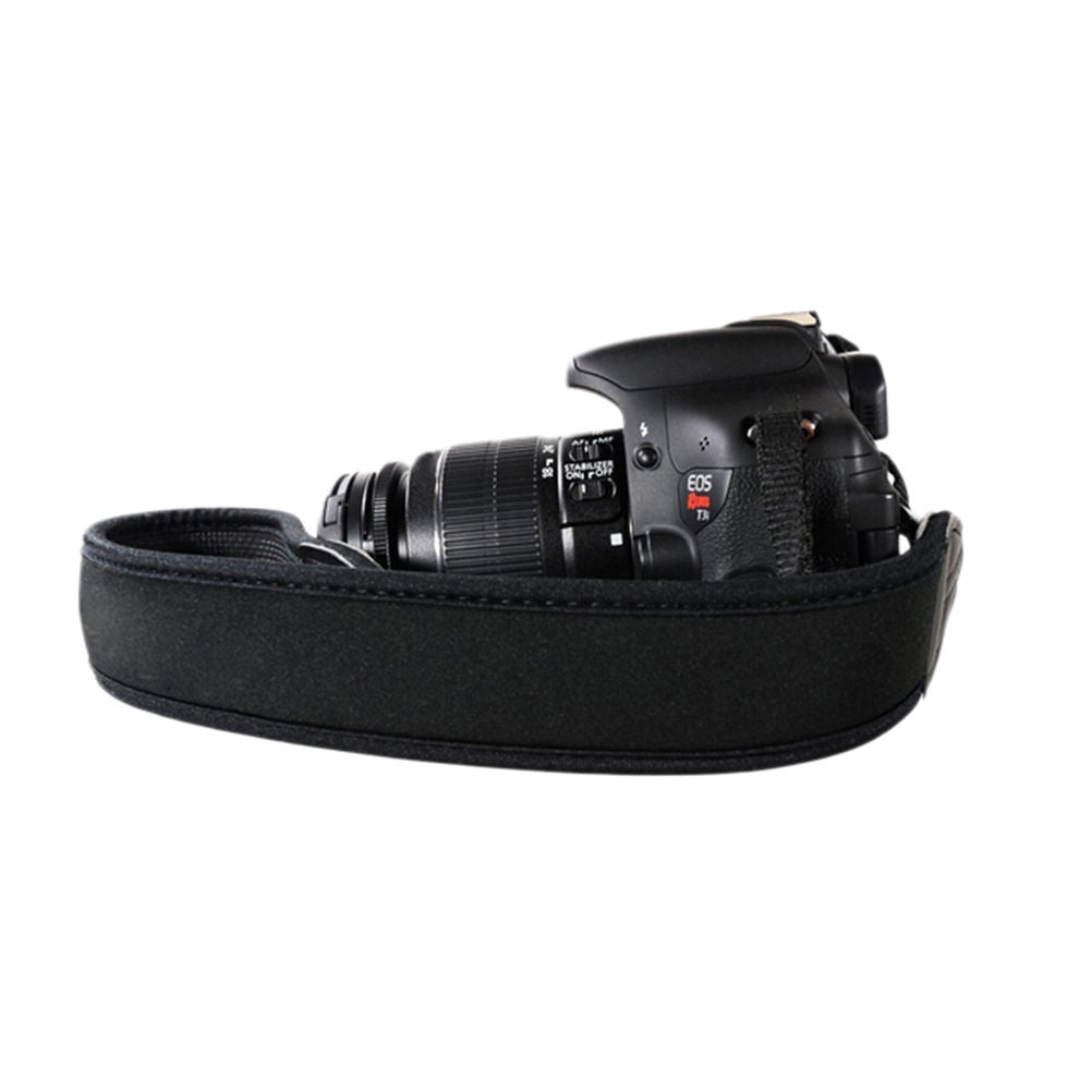 Neoprene Camera Strap - Black w/antislip rubber - Paramount Camera & Repair - Saskatoon Canada Used Cameras Used Lenses Batteries Grips Chargers Studio