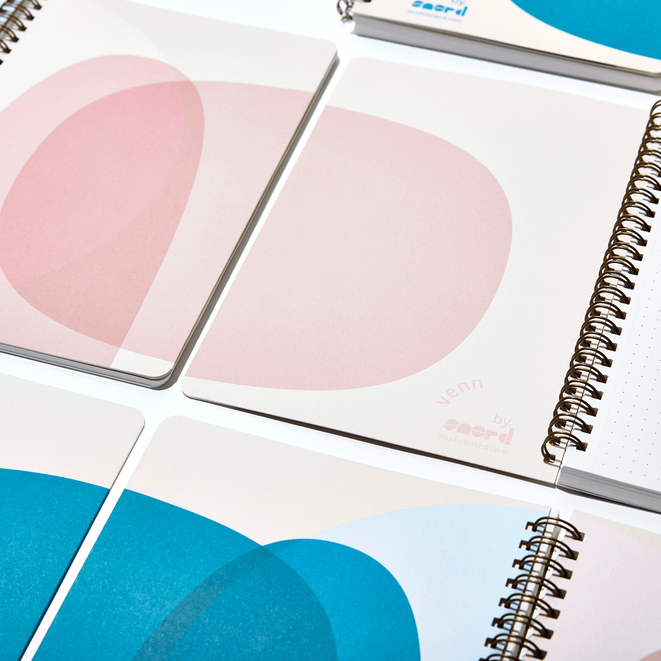 studio snerd ambdextrous notebook venn blush pink blue