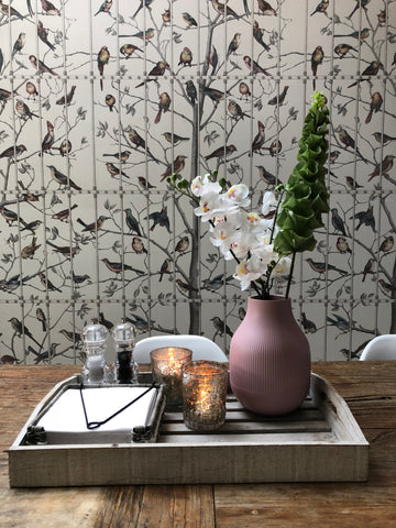 Fleur ward interior design - kitchen with Cole and sons ucelli wallpaper