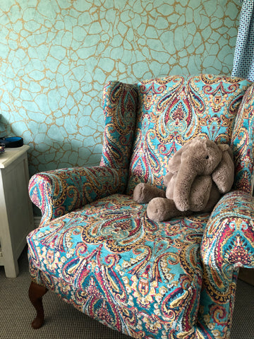 Bedroom chair in mulberry fabric Fleur ward