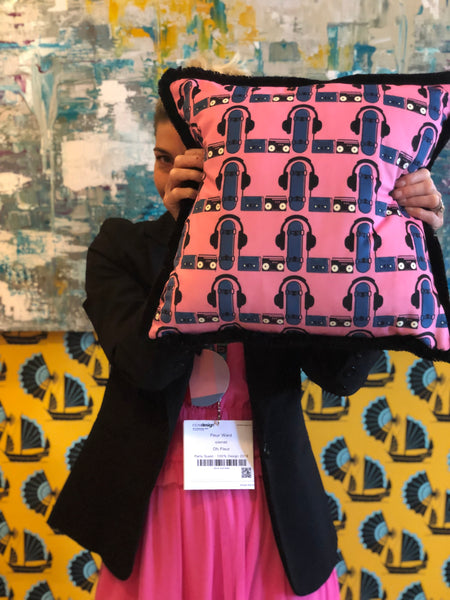 ohh fleur at 100% design kensington olympia designer wallpaper and fabrics Wired for sound cushion in pink
